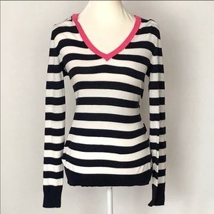Gap V-Neck Striped Cotton Sweater